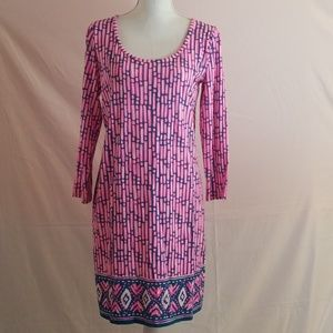 Lilly Pulitzer Large 3/4 Pink Print Beacon Dress